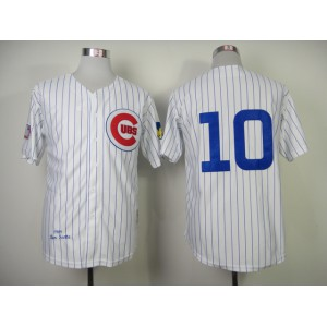 Men Chicago Cubs 10 Santo White Throwback 1969 MLB Jerseys