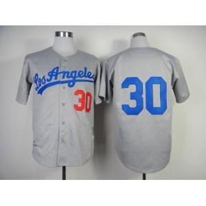 Men Los Angeles Dodgers 30 Maury Wills Grey Throwback 1963 MLB Jerseys