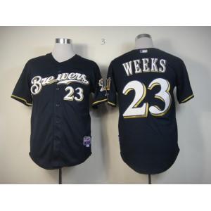 Men Milwaukee Brewers 23 Weeks Blue MLB Jerseys