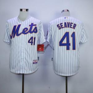 Men New York Mets 41 Seaver White Stripe MLB Jerseys
