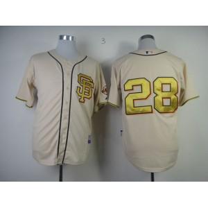 Men San Francisco Giants 28 Posey Cream SF MLB Jerseys
