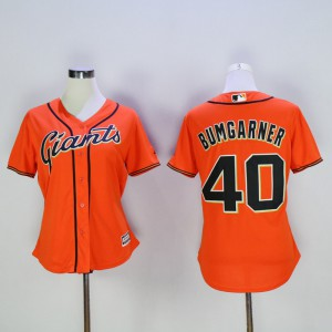 Women San Francisco Giants 40 Bumgarner Orange MLB Jerseys