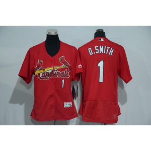 Womens 2017 MLB St. Louis Cardinals 1 O.Smith Red Elite Jerseys